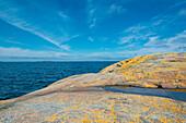 Sicht über gelb bemooste Felsen auf das Meer, Öregrund, Bottensee, Uppsala, Schweden
