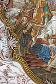Painted vault showing the Brezenreiter, Heilig-Geist-Kirche, Munich, Bavaria, Germany