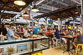 market food hall Campo de Ourique, guests, lunch, Lisbon, Portugal