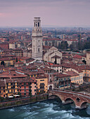 View from Castel San Pietro over the oldtown of Verona with the tower of the cathedral Santa Maria Matricolare and Ponte Pietra bridge over the Adige, Veneto, Italy