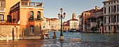 Panorama, overlooking the Campo della Carita to the Grand Canal with Palazzo Giustinian Lolin and Palazzo Falier at the right in the morning sun, Palazzo Giustinian, University Cà Foscari, Palazzo Balbi, Tower of Kriche Santa Maria Gloriosa dei Frari in t