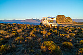 camping, 4WD Campervan, morning, Nevis Road, tussock landscape, Central Otago, South Island, New Zealand