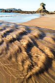 tidal water, golden sand on beach, pristine beach, high format, nobody, Tauranga Bay, Northland, North Island, New Zealand
