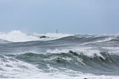 Owhiro Bay, coastal storm south of Wellington, huge swell, rough seas in Cook Strait, North Island, New Zealand
