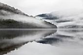 morning mist, Lake Paringa, fog, low cloud after rain on west coast lake, forest fringed lake, nobody, Westland, South Island, New Zealand