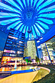 Interior of the Sony Center in the evening, Potsdamer Platz, Berlin, Germany