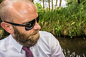 Man with beard and sunglasses in a kajak, Spreewald, Vacation, Family Tour, Family Celebration, Summer, Vacation, Castle, Oberspreewald, Brandenburg, Germany