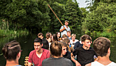 Boat trip on the Spree, Vacation, School class, Summer, Spreewald, Oberspreewald, Brandenburg, Germany