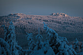 Winter landscape at sunset, Brocken, Schierke, Harz national park, Saxony, Germany