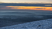 Sunset and Winter landscape, Schierke, Brocken, Harz national park, Saxony, Germany