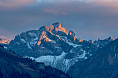 Alp panorama at sunset, alpine glow, Allgaeu, Oberallgaeu, Oberstdorf, Germany