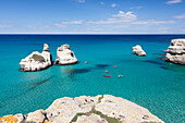 Rocky coast near Torre dell'Orso, Due Sorello Rocks (Two Sisters), Adriatic Sea, Lecce province, Salentine Peninsula, Puglia, Italy, Mediterranean, Europe
