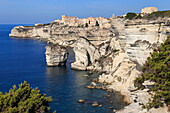 Old citadel and cliffs, interesting rock formations, Bonifacio, Corsica, France, Mediterranean, Europe
