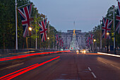 Union Jacks on The Mall, Buckingham Palace, London, England, United Kingdom, Europe