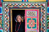 A decorative Tibetan house in a remote Tibetan village called Jiaju Zangzhai, Sichuan Province, China, Asia
