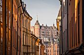 Blick auf Mariaberget vom historischen Gamla Stan in Stockholm, Schweden, Skandinavien, Europa