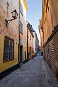 Ein Fußgänger führt die Straßen von Stockholms buntem und historischem Viertel Gamla Stan, Stockholm, Schweden, Skandinavien, Europa