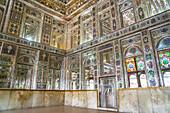 Mirrored reception hall, Khan-e Zinat al-Molk, Qavam al-Molk family's private quarters, Shiraz, Iran, Middle East
