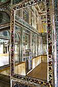 Reflections in mirrored reception hall, Khan-e Zinat al-Molk, Qavam al-Molk family's private quarters, Shiraz, Iran, Middle East