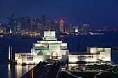 Qatar, Doha, The Museum of Islamic Art, designed by I. M. Pei, elevated view, dawn.