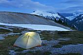 Backcountry camp on Hannegan Peak overlooking Ruth Mountain, North Cascades Washington.