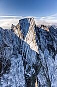 The north face of Peak Badile Masino Valley Bondasca Valley, Border Italy- Switzerland Europe.