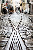 The steel rails on a rainy day with the typical trams leading to Bairro Alto district Lisbon Portugal Europe.