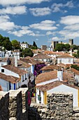 View of the fortified city of Obidos originated in an early Roman settlement Oeste Leiria District Portugal Europe.