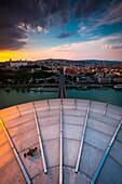 Bratislava, Slovakia, center Europe. Panoramic view from UFO terrace restaurant on Novy Most bridge.