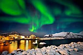 Mefjiorvaer with Northern light. Senja archipelago, Norway.