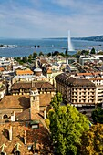 Geneva. Aerial view of Geneva Lake and the Jet d'eau taken from a tower of the Cathedrale Saint Pierre. Switzerland