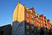 Mural painting on a building in Gronnegade street, Aarhus, Jutland Peninsula, Denmark, Northern Europe.