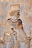 Iran, Fars Province, Persepolis, World Heritage of the UNESCO, staircases of Apadana, releif of the warriors.