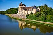 France, Cher (18), Berry, the Jacques Coeur road, Chateau de la La Chapelle d'Angillon castle, aérial view.