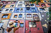 Hundertwasser Haus a residential apartment building designed by Friedensreich Hundertwasser, Vienna, Austria.