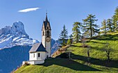 Chapel Barbarakapelle - Chiesa di santa Barbara in the village of Wengen - La Valle, in the Gader Valley - Alta Badia in the Dolomites of South Tyrol - Alto Adige, Mount Peitlerkofel - Sass de Putia in the background. The Dolomites are listed as UNESCO Wo