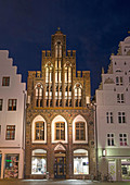 Ratschow Haus, buildt in the middle ages in typical brick gothic style. The hanseatic city of Rostock at the coast of the german baltic sea. Europe,Germany, Mecklenburg-Western Pomerania, June.