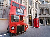 Red London double decker bus and post box at pavilion at Global Village 2015 in Dubai United Arab Emirates.