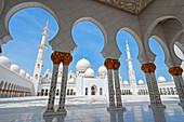 Courtyard of Sheikh Zayed Grand Mosque in Abu Dhabi United Arab Emirates.