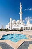 View of of Sheikh Zayed Grand Mosque in Abu Dhabi United Arab Emirates.