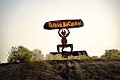Statue of El Diablo by artist Cesar Manrique. Lanzarote, Canary Islands. Symbol of Timanfaya National Park volcanic landscape.