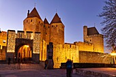 Historic Fortified City of Carcassonne France. The Narbonne Gate. The Cite' de Carcassonne is a medieval citadel located in the French city of Carcassonne, in the department of Aude, Languedoc-Roussillon region. It is located on a hill on the right bank o