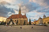 Romania, Transilvania, Cluj Napoca City, Mathia Rex Monument, St. Michael's Church, Unirii Square.