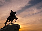 Bronze Horseman - Monument to Peter the Great.The monument was built by order of the Empress Catherine the Great as a tribute to her famous predecessor on the Russian throne, Peter the Great. This equestrian statue of Peter the Great, created by the famou