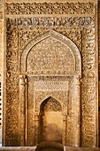 Iran, Isfahan, Friday mosque, world heritage of the UNESCO, stucco mihrab with Quranic inscriptions.