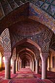 Iran, Fars Province, Shiraz, Nasir al Molk mosque.