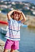 Girl, Port Socoa, Ciboure, Aquitaine, Pyrenees Atlantiques, France, Europe
