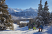Snowboarding in Lenzerheide, Grisons, Alps, Switzerland