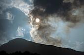 smoke on the summit of Stromboli Volcano, Stromboli Island, Aeolian Islands, Lipari Islands, Tyrrhenian Sea, Mediterranean Sea, Italy, Europe