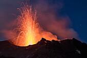 Eruption of Stromboli Volcano, 16.10.2016, Stromboli Island, Aeolian Islands, Lipari Islands, Tyrrhenian Sea, Mediterranean Sea, Italy, Europe